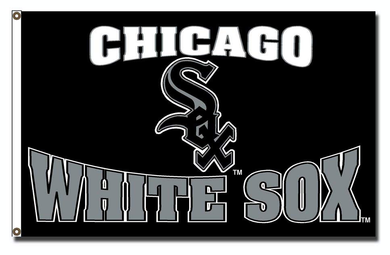 Chicago White Sox Black Logo Banner flags 3ftx5ft