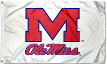 Load image into Gallery viewer, Mississippi Rebels Ole Miss White Flag 3x5ft