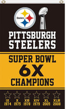 Load image into Gallery viewer, Pittsburgh Steelers 6X Champions Super Bowl 3ftx5ft flag