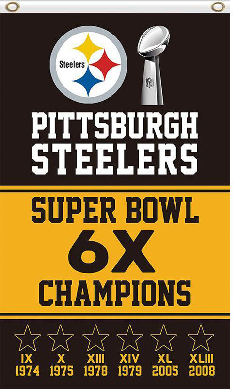 Pittsburgh Steelers 6X Champions Super Bowl 3ftx5ft flag