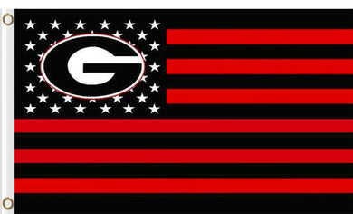 Georgia Bulldogs with stripes and stars Flag 3x5 FT