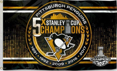 Pittsburgh Penguins 5 times Champions Flag 3x5 ft