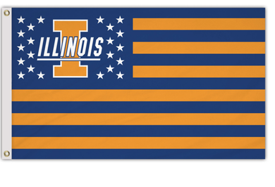 Illinois Fighting Illini Polyester Fabric Logo Banner Flags 3*5ft
