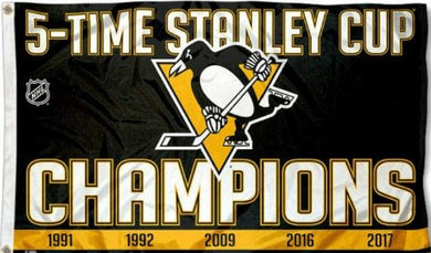 Pittsburgh Penguins 5 Time Stanley Cup Champs Flag 3x5 ft