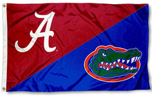 Load image into Gallery viewer, Alabama Crimson Tide vs Florida Gators divided flag 3ftx5ft
