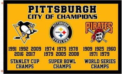 Pittsburgh city champions flags 3x5 ft
