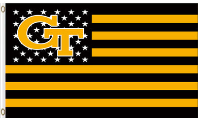 Georgia Tech Yellow Jackets Star and Stripes Banner Flags 3*5ft