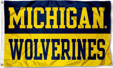 Michigan Wolverines Wordmark Banner Flag 3x5ft