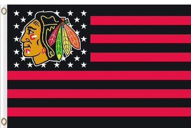 Chicago Blackhawks with starts and stripes flag 3x5 FT