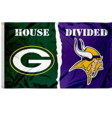 Load image into Gallery viewer, Green Bay Packers Minnesota Vikings House Divided Flag 3x5FT