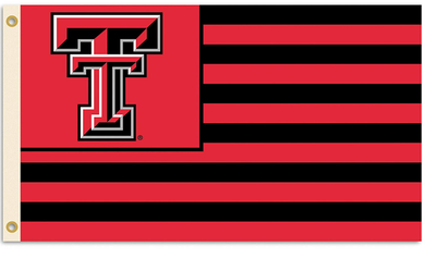 Texas Tech Red Raiders Logo with Stripes Banner Flag 3ft*5ft