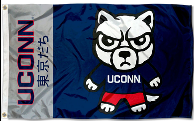 Connecticut Huskies Kawaii Tokyodachi Mascot Flag 3*5ft