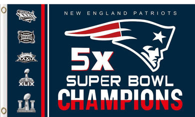 New England Patriots 5x super bowl champion Flags 3ftx5ft