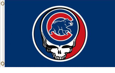 Chicago Cubs Dead Skull Banner flag 3ftx5ft