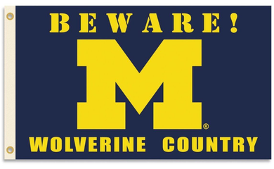 Michigan Wolverines Beware Country Flag 3x5ft
