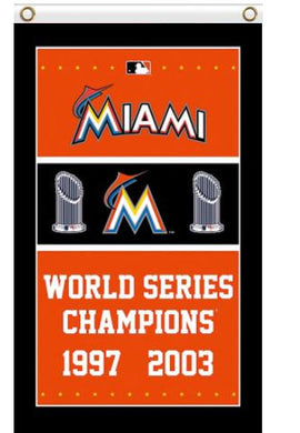 Miami Marlins World Series Champions Banner flag 3x5ft