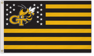 Georgia Tech Yellow Jackets Nation Stripes Flags 3*5ft
