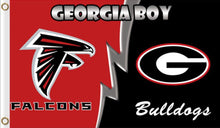 Load image into Gallery viewer, Atlanta Falcons and Georgia Bulldogs House divided flag 3ftx5ft