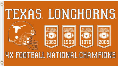 Texas Longhorns 4X Football National Champion Banner Flag 3x5FT