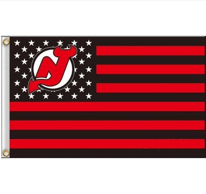 New Jersey Devils star and stripe 3x5ft flag