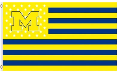 Michigan Wolverines With Starts And Stripes Flag 3x5ft
