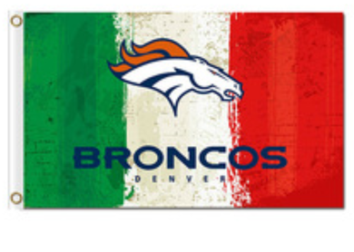 Denver Broncos Green White Red flag Banner 3x5ft