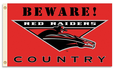 Texas Tech Red Raiders Beware Country Banner Flag 3ft*5ft