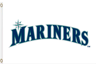 Seattle Mariners Polyester White Banner flag 3ftx5ft