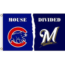 Load image into Gallery viewer, Chicago cubs vs Milwaukee Brewers House Divided flags 3ftx5ft