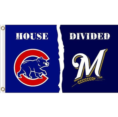 Chicago cubs vs Milwaukee Brewers House Divided flags 3ftx5ft