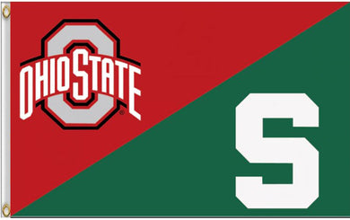 The Ohio State University and Michigan State House Divided Flag 3ftx5ft