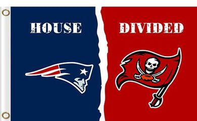 New England Patriots vs Tampa Bay Buccaneers Divided Flag