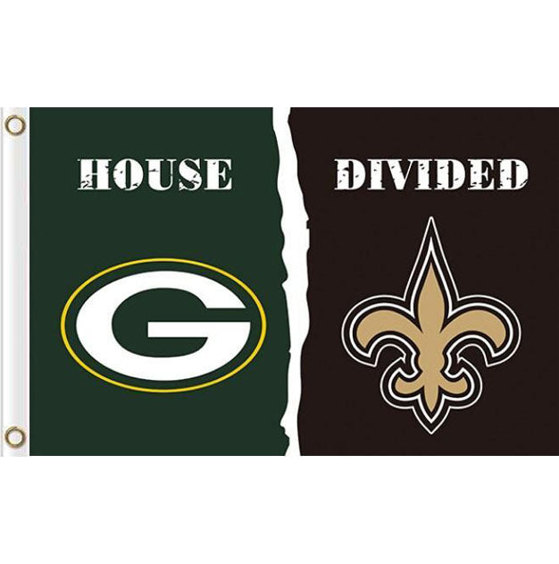 Green Bay Packers vs New Orleans Saints divided flag 3ftx5ft