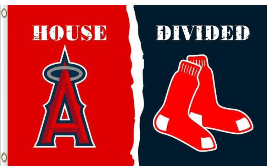 Los Angeles Angels of Anaheim Vs Boston Red Sox House Divided flags 3x5ft
