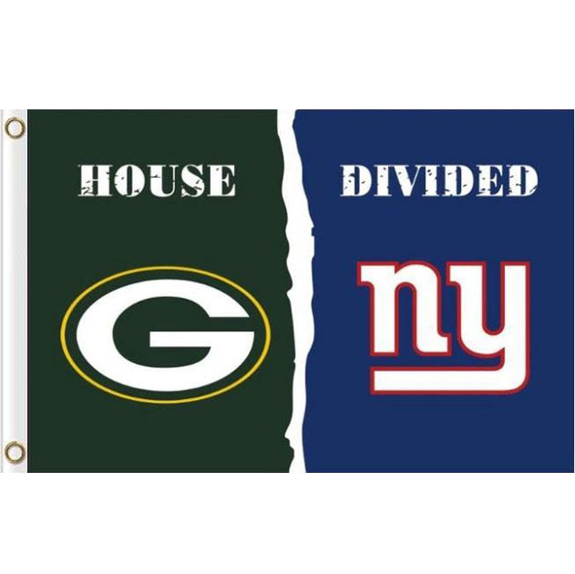 Green Bay Packers VS New York Giants House Divided flags 3ftx5ft