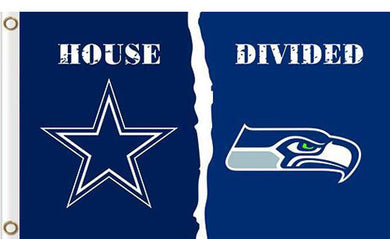 Dallas Cowboys vs Seattle Seahawks Divided Flag