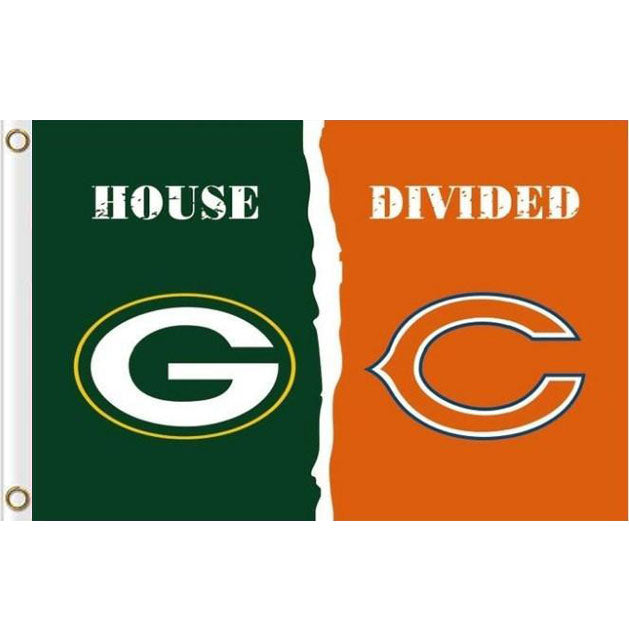 Green Bay Packers VS Chicago Bears house divided flags 3ftx5ft