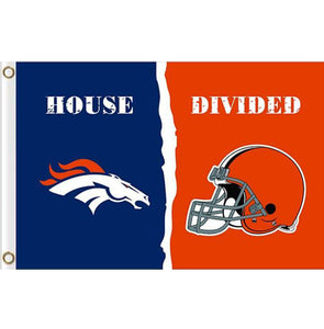 Denver Broncos vs Cleveland Browns House divided flag 3ftx5ft