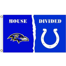 Load image into Gallery viewer, Baltimore Ravens VS Indianapolis Colts House Divided flags 3ftx5ft
