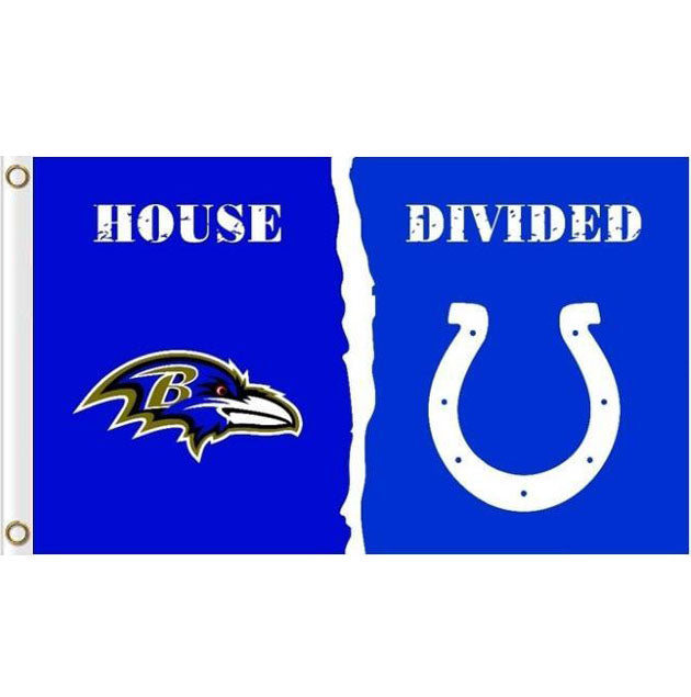 Baltimore Ravens VS Indianapolis Colts House Divided flags 3ftx5ft
