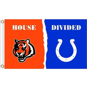Cincinnati Bengals VS Indianapolis Colts House Divided flags 3ftx5ft