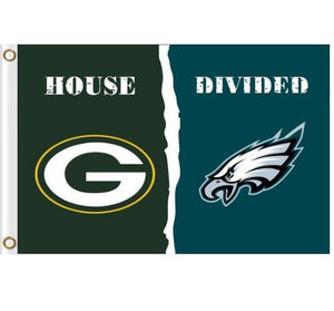 Philadelphia Eagles vs Green Bay Packers Divided Flag