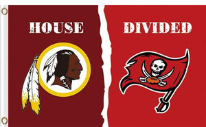 Washington Redskins vs Tampa Bay Buccaneers Divided Flag