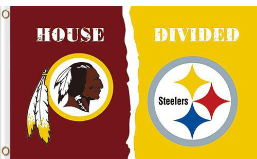 Washington Redskins vs Pittsburgh Steelers Divided Flag