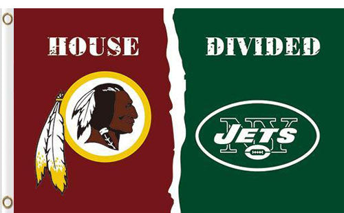 Washington Redskins vs New York Jets Divided Flag