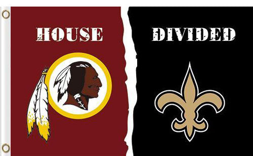 Washington Redskins vs New Orleans Saints Divided Flag