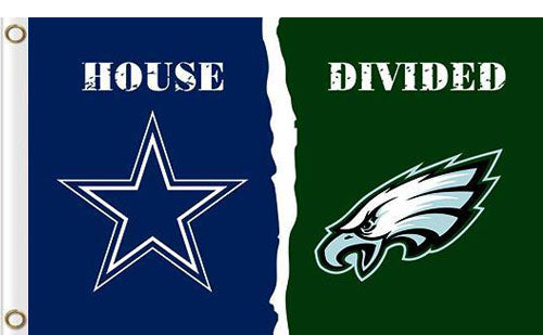 Dallas Cowboys vs Philadelphia Eagles Divided Flag