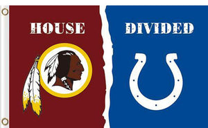 Washington Redskins vs Indianapolis Colts Divided Flag