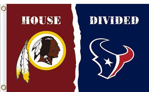 Washington Redskins vs Houston Texans Divided Flag