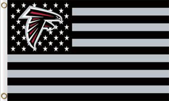 Atlanta Falcons Flag with Star and Stripes 3FTx5FT Black